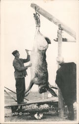 Man Gutting a Giant Rabbit, A Winters Supply Postcard