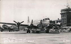 Giant Airliner Loading for the Takeoff, Mills Field Airport Postcard