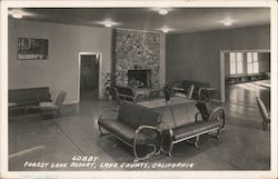 Lobby, Forest Lake Resort Postcard
