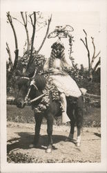 Girl & Horse in Santa Rosa Rose Parade Postcard