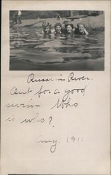 Swimming in the Russian River Postcard