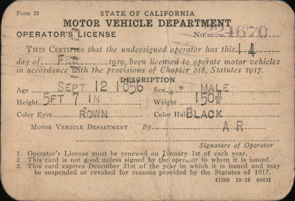 1919 State of California Motor Vehicle Department Operator's License Postcard