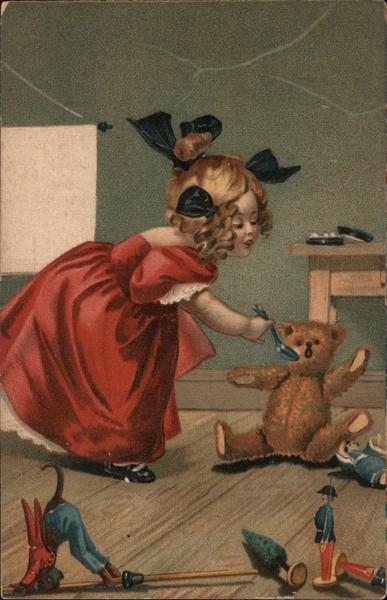 Girl feeding a Teddy Bear with a Spoon Girls