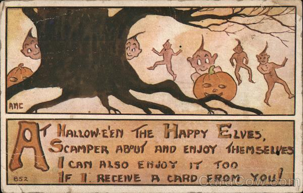 At Hallow-e'en the Happy Elves scamper about and enjoy themselves.