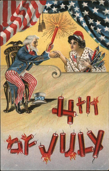 4th of July Uncle Sam and Fireworks