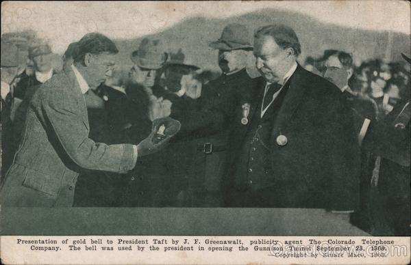 President Taft Receiving Gold Bell from J. F. Greenwalt of the Colorado Telephone Company
