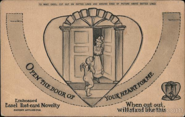 Open the door of your heart for me. Cupid at door of woman.
