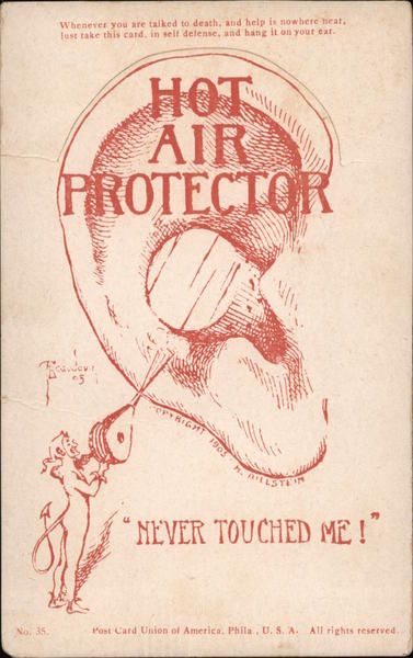 Never Touched me! Hot Air Protector. Hang on ear to prevent hot air talk.