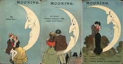 "Setof 3: Couples on Moon, ""Mooning"" Postcard"