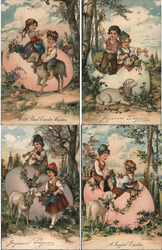 Set of 4: Children with Lamb, Easter Egg Postcard