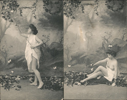Set of 2: Woman in nightgown catching butterflies Postcard