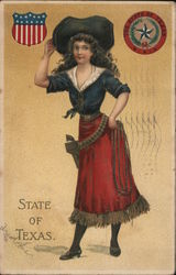 State of Texas. Girl with gun and belt and whip. State seal of Texas Postcard