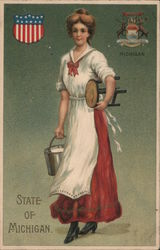State of Michigan. Dairy Made with bucket of milk and stool. Shield and Seal of Michigan Postcard