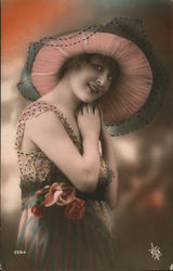 Girl in large pink hat and dress with roses. Postcard