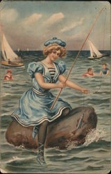 Girl on rock fishing, boys playing in waves, sailboats. Postcard
