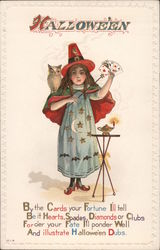 Hallowe'en -- Girl Dressed up as a Magician or Fortune Teller Postcard
