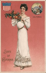 State of California. Girl with Orange branch, U.S. shield, Eureka seal inserted Postcard