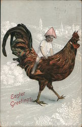 Easter Greetings - Child Riding a Rooster Postcard