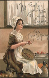 May plenty always fill your larder for Thanksgiving. Woman cleaning vegetables. Postcard