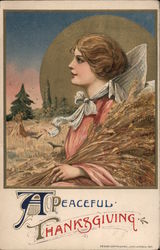 A peaceful Thanksgiving. Woman holding wheat sheaves in field. Postcard