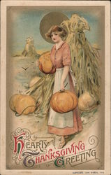 Hearty Thanksgiving Greeting. Woman in field gathering pumpkins Postcard