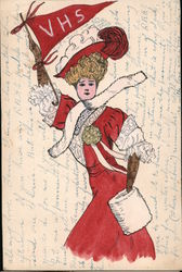 Vallejo High School Woman VHS Pennant suffragette? Hand Colored Postcard