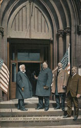 President Wm. H.Taft and Bishop Hartzell at the entrance of Trinity M.E. Church, Cincinnati Postcard