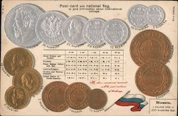 Postcard With National Flag to give information about international coinage (Russia) Postcard