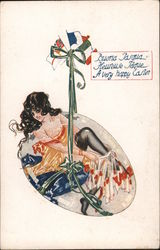 A Very Happy Easter -- Woman in Lingerie Coming out of an Egg Postcard