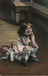 Little girl using chamber pot with doll and milk bottle nearby Postcard