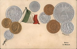 Mexico. Flag and coins Postcard