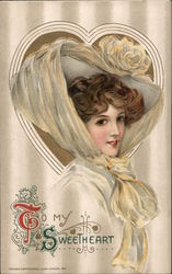To my sweetheart. Gibson Girl. Postcard