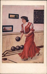 Woman in Red Dress Bowling. Postcard