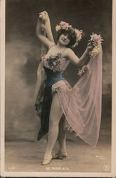 De Morlaix. Full bodied woman in pink corset dance outfit with flowers. Postcard