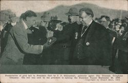 President Taft Receiving Gold Bell from J. F. Greenwalt of the Colorado Telephone Company Postcard