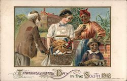 Thanksgiving Day in the South 1912. White woman with basket of food for black family. Child holds raccoon. Postcard