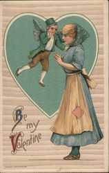 Be My Valentine - Fairy Whispering to Woman Postcard