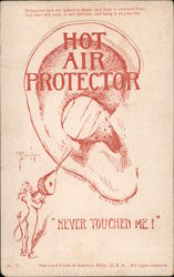 Never Touched me! Hot Air Protector. Hang on ear to prevent hot air talk. Postcard