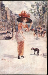 Woman with a Dog in Paris Postcard