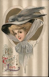 A Token of Love - Big Hat With Bird Postcard