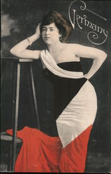 Woman in German Flag Dress Postcard