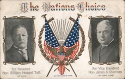 The Nations Choice. For President William Howard Taft and VP James S. Sherman Postcard