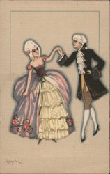 Couple in powdered wigs dancing Postcard