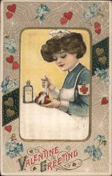 Valentine Greeting. Red Cross Nurse mending a broken heart. Postcard