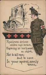 Red Cross driver skilled and brave, Knowing no such word as shirk.