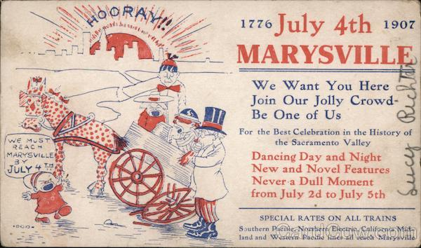 Ad for the 1907 Marysville July 4th celebration California