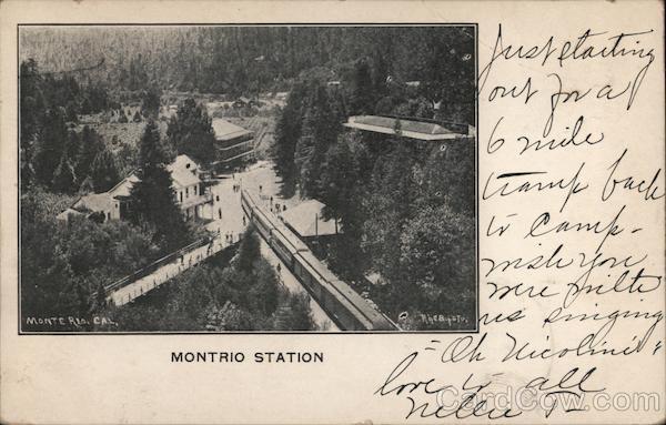 Montrio Station. Train on track, buildings Monte Rio California