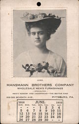 Advertisement and calendar, Mansmann Brothers Company, Wholesale Men's Furnishings 1910 Postcard