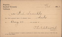 Card from Registrar of Stanford University granting a leave of absence in 1903 Postcard