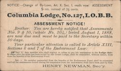 Columbia Lodge, No. 127, I.O.B.B. Assessment notice. Postcard